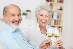 Glückliche ältere Paare, die sich rösten Stockbild
