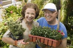 Glückliche ältere Paare, die zusammen im Garten arbeiten Stockbild