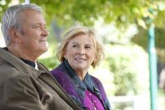 Glückliche ältere Paare im Freien Stockfotos