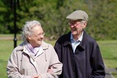Glückliche ältere Paare im Park Stockbild