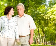 Glückliche ältere wallking Paare Lizenzfreie Stockfotos