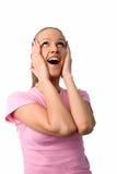 Glückliche überraschte Frau Stockfoto