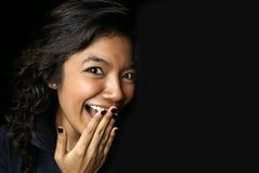 Glückliche Überraschung der asiatischen Dame Stockbild