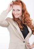 Glückliche überzeugte Berufsfrau Stockfotografie