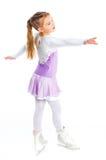 Glückliche Abbildung Eislauf des jungen Mädchens. Getrennt. Stockbild