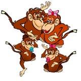 Glückliche Affen Familien-Illustration Lizenzfreies Stockfoto