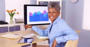 Glückliche afrikanische Geschäftsfrau, die am Schreibtisch sitzt Stockbilder