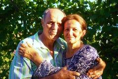 Glückliche alte Paare, die in einem Park an einem sonnigen Tag lächeln Lizenzfreie Stockfotografie