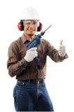 Glückliche Arbeitskräfte zeigen thow Daumen Lizenzfreie Stockbilder