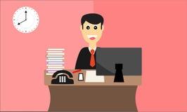 Glückliche Arbeitskraft bereit zur Arbeit im flachen Design des Büros Lizenzfreie Stockfotografie