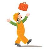Glückliche Arbeitskraft im Overall wirft oben einen Koffer Stockfotos