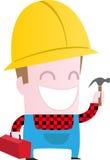Glückliche Arbeitskraft mit Hammer Stockfotos