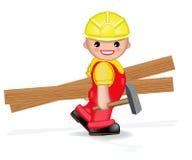 Glückliche Arbeitskraft mit Hammer und Planken Lizenzfreies Stockfoto