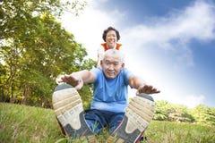 Glückliche asiatische ältere Paare stockbilder