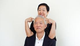 Glückliche asiatische ältere Paare, Familienunternehmeninhaber-Partner portrai lizenzfreies stockfoto
