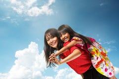 Glückliche asiatische Mutter und Tochter lizenzfreies stockbild