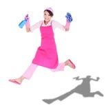 Glückliche aufgeregte Frauenhausfrau lizenzfreie stockfotografie