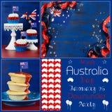 Glückliche Australien-Tag-deisgner Satzcollage Lizenzfreies Stockbild