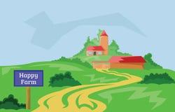 Glückliche Bauernhof-Landschafts-Landschaftsillustration Lizenzfreie Stockbilder