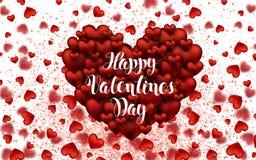 Glückliche Beschriftungs-Karten-Herzen Tag des Valentinsgrußes s Helle elegante Liebes-Schablonen-Design-Karte Lizenzfreie Stockfotografie