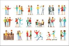 Glückliche beste Freunde, die gute Zeit zusammen haben, Satz Freundschafts-themenorientierte Illustrationen herausgehen und sprec lizenzfreie abbildung