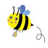 Glückliche Biene, die herum mit einem übervollen Glas köstlicher Honigzeichentrickfilm-figur fliegt Stockbild
