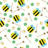 Glückliche Biene mit nahtlosem Muster des Honigkamm- und Honigtopfes stock abbildung