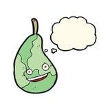 glückliche Birne der Karikatur mit Gedankenblase Lizenzfreie Stockfotografie