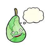 glückliche Birne der Karikatur mit Gedankenblase Stockbild