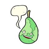glückliche Birne der Karikatur mit Spracheblase Lizenzfreie Stockfotografie