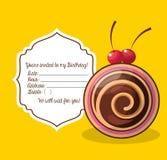 glückliche birtday Einladungskarte Lizenzfreie Stockfotografie