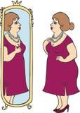Glückliche Blicke der glücklichen fetten Frau im Spiegel vektor abbildung