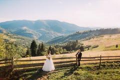 Glückliche blonde Braut im weißen Kleid und im Bräutigam, die auseinander nahe hölzerner Hecke steht Lizenzfreies Stockbild