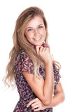 Glückliche blonde Frau auf weißem Hintergrund Stockfoto