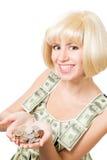 Glückliche blonde Frau mit Höhle der Münzen Stockbilder