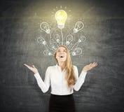 Glückliche blonde Frau nahe Glühlampe auf Tafel Lizenzfreies Stockfoto