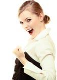 Glückliche blonde Geschäftsfrau mit Erfolgshandzeichen. Geschäft. Stockbilder