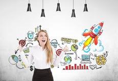 Glückliche blonde Geschäftsfrau, Start, konkret Stockbild
