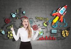 Glückliche blonde Geschäftsfrau, Start, Tafel Lizenzfreie Stockbilder