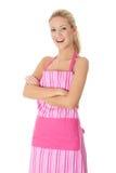 Glückliche blonde nackte Frau im rosafarbenen Vorfeld Stockbild