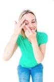 Glückliche blonde zutreffende Kontaktlinse Stockfotografie