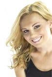 Glückliche Blondine lokalisiert auf Weiß Stockfotos