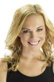Glückliche Blondine lokalisiert auf Weiß Lizenzfreie Stockfotos