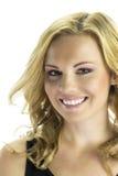 Glückliche Blondine lokalisiert auf Weiß Stockbilder