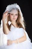 Glückliche Braut auf Hochzeit. Stockfoto