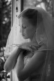 Glückliche Braut auf Hochzeit Stockfotografie