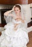 Glückliche Braut auf Hochzeit Stockbild