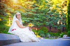 Glückliche Braut im weißen Kleid sitzt auf der Beschränkung Stockbilder