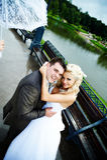 Glückliche Braut und Bräutigam an der Hochzeit gehen in Park Lizenzfreie Stockbilder