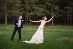 Glückliche Braut und Bräutigam, die im Frühjahr am Rand eines Kiefernwaldes geht Stockfotos